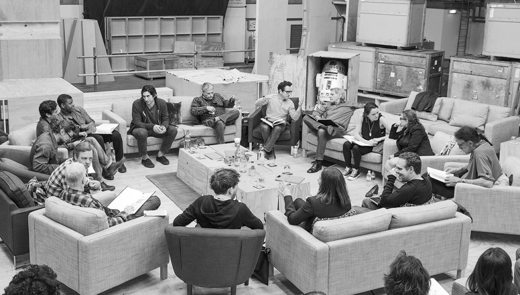 Writer/Director/Producer J.J Abrams (top center right) at the cast read-through of Star Wars Episode VII at Pinewood Studios with (clockwise from right) Harrison Ford, Daisy Ridley, Carrie Fisher, Peter Mayhew, Producer Bryan Burk, Lucasfilm President and Producer Kathleen Kennedy, Domhnall Gleeson, Anthony Daniels, Mark Hamill, Andy Serkis, Oscar Isaac, John Boyega, Adam Driver and Writer Lawrence Kasdan.