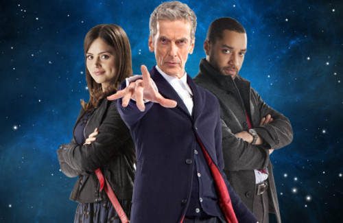 Peter Capaldi as the Doctor with his companions Clara and Danny