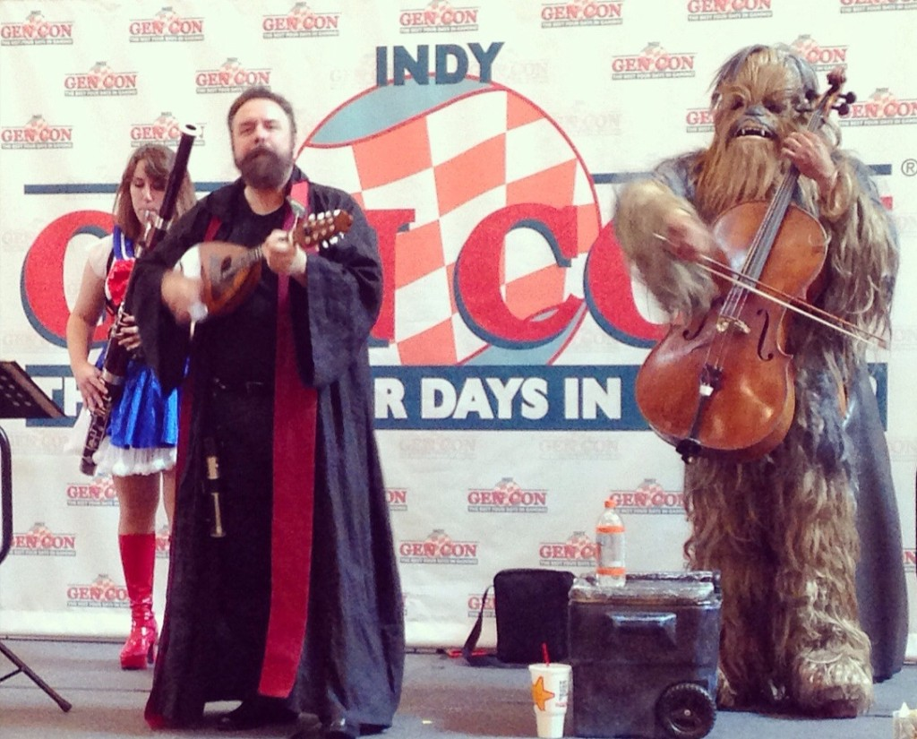 Sailor Moon on bassoon, a wizard on mandolin, and Chewbacca on cello. Self-explanatory.