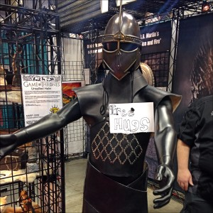 Game of Thrones armor on a mannequin, offering hugs.