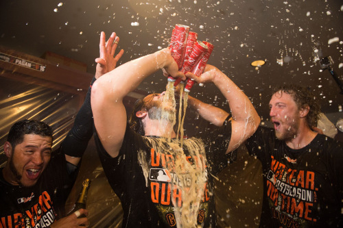 Image of Madison Bumgarner drinking 5 beers at once