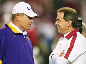 Les Miles Nick Saban LSU Alabama