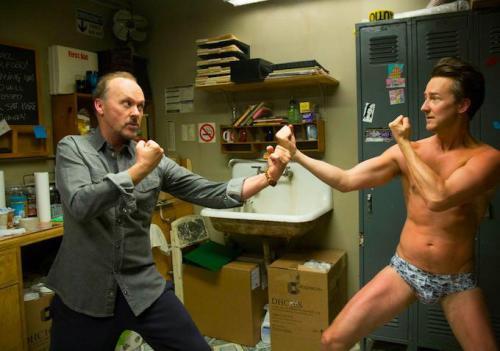 Image of Michael Keaton and Edward Norton in Birdman