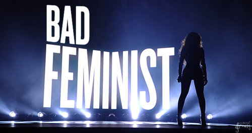 Image of Beyonce with 'Bad Feminist' written behind her
