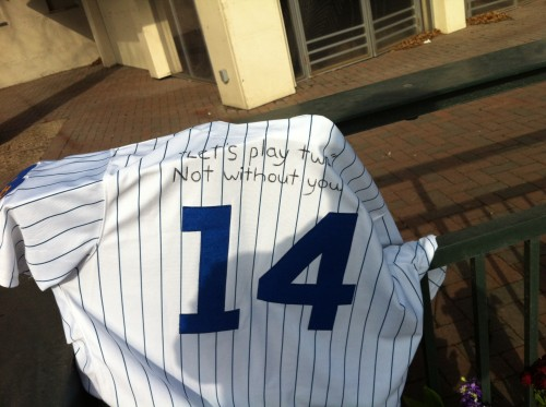 Image of Ernie Banks jersey at Wrigley Field