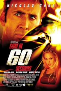 Nicolas Cage and Angelina Jolie pose on the Gone in Sixty Seconds movie poster