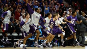 Stephen F. Austin celebrating a 2014 tournament win. Photo credit