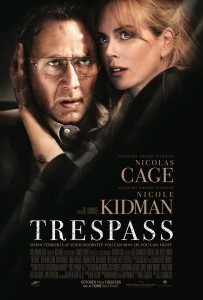 Nicole Kidman clutches Nicolas Cage on the Trespass movie poster