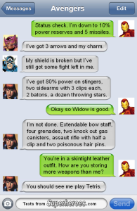 Black Widow Text from Superheroes